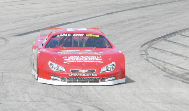 File photos Drew Charleson, of New Bremen, wheels his Chevy around Kil-Kare Raceway's Turn 1 during a recent warmup session at the 3/8-mile paved oval in Xenia. Charleson won the Robbie Dean Memorial feature on June 4 and leads the late model points standings through Week 4 of the Gem City Auto Racing series.