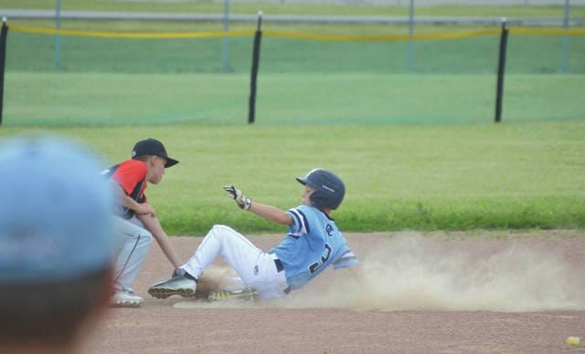 A Dayton Classics base runner is tagged out on a steal attempt during Thursday's June 22 Midwest Baseball League boys U11 baseball game at Fairfield Park in Fairborn.