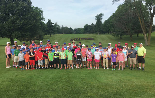 Submitted photo A total of 55 area boys and girls participated in the annual Miami Valley Junior Golf Association youth golf camp, which is held annually at WGC Golf Course in Xenia.