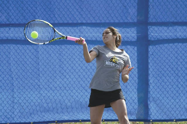 Wright State University womens tennis team member Vanessa Madrigal is an example of the Department of Intercollegiate Athletics' emphasis on athletics. Madrigal has a 3.8 grade-point average in biomedical engineering.