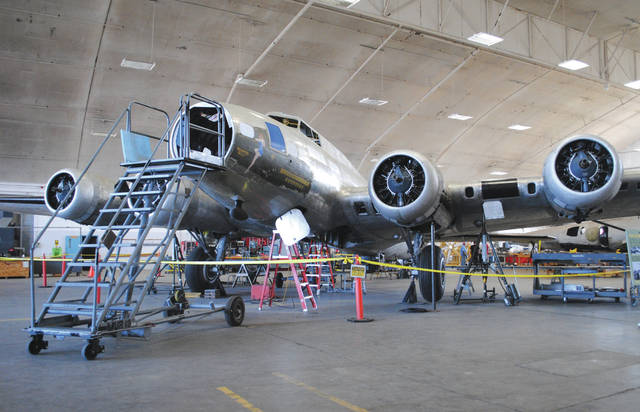 Whitney Vickers | News-Current The National Museum of the United States Air Force has been restoring a B-17F Memphis Belle since 2005 but is now less than one year from being presented to the public. Restoration specialists installed a tail turret July 26. It will later be moved to the museum's WWII gallery, where it will open for public display in May 2018.