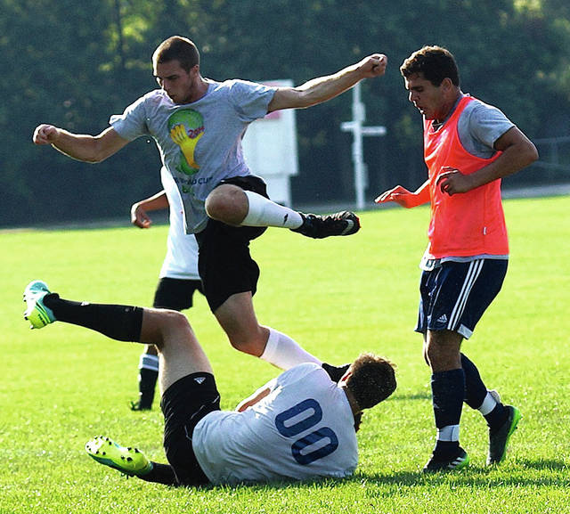 Barb Slone | News-Current The Beavercreek boys soccer team is prepping for the upcoming season with some open fields play at the John Ankeney Soccer Complex. The Beavers were state semifinalists last season.