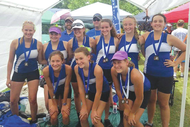 Submitted photo Dayton Boat Club's women's high school eight claimed first place in the Ann Arbor Regatta, July 22 in Ann Arbor, Michigan. (Front, from left): Aidah Shuttleworth, Aubrey Trimbach, Kyla Boehringer; (second row): Julia Hummel, Brianna Gracey, Ella Waldspurger, Audrey Sholiton, Kara Alexander, Elena Muir; (back row): coaches Mitch Vossler and Joe Connelly.