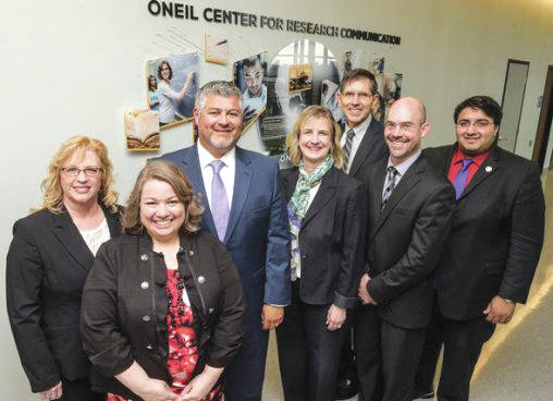 Submitted photo From left: Jennie Gallimore, associate dean for research and graduate studies at the College of Engineering and Computer Science; Brandy Foster, executive director of the ONEIL Center for Research Communication; Hernan Olivas, president and chief executive of O'Neil & Associates, Inc.; Wright State President Cheryl B. Schrader; Wright State trustee C.D. Moore II; Nathan Klingbeil, College of Engineering and Computer Science dean; and State Rep. Niraj Antani.
