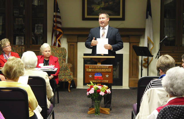 Anna Bolton   Greene County News Beavercreek City Schools Superintendent Paul Otten speaks to voters about Issue 17 at Beavercreek Republican Women's Club's Candidates and Issues Forum Oct. 23.