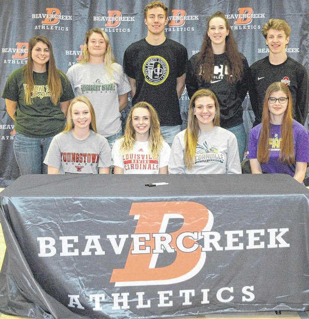 Scott Halasz | News-Current Several Beavercreek athletes signed their National Letters of Intent during a ceremony at the high school Nov. 8. Front row (left to right) Averi McCarthy, Rosalie (Rosie) Devine, Lexi Moore, and Sara Skaggs. Back row (left to right) Natasha Price, Raidyn Johnson, Jon Alessandro, Haley Hutchins, and Parker Mikesch.