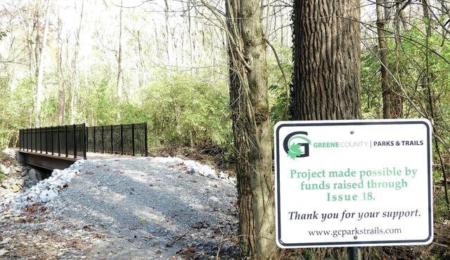 Shown is one of the three new bridges have been installed at Sara Lee Arnovitz Reserve in Xenia.