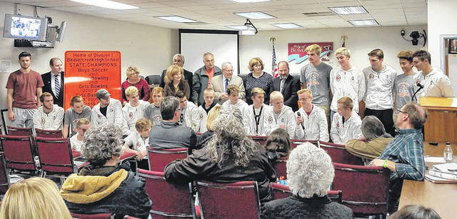Danielle Coots | News-Current Beavercreek City Council members honored the Beavercreek Soccer Team and thier coach recently with a new Beavercreek sign listing the soccer team as Home Division 1 State Champions for 2017.