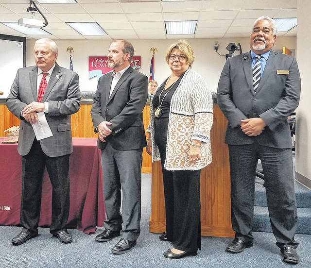 Danielle Coots | News-Current City officials say goodbye to leaving council members Chad Whilding, Debborah Wallace and Brian Jarvis.