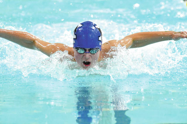 Chris Greene | News-Current Xenia High School's Garrett Beam comes up for air during the boys 50-yard Butterfly event, Dec. 8 in the 10-team Oakwood Spring Meet Invitational, which was held at the Dayton Raiders Aquatic Center in Beavercreek.
