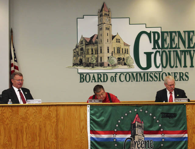Anna Bolton | News-Current Greene County Commissioners Tom Koogler, Bob Glaser and Alan Anderson held a re-organizational meeting Jan. 8.