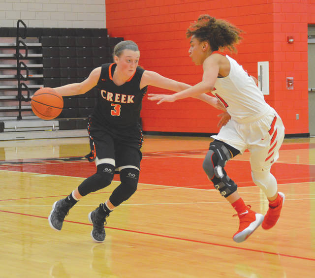 Beavers senior guard Bailey Draughn (3) brings the ball upcourt against Wayne's Destiny Bohanon, during second-half action Jan. 31 in Huber Heights. Draughn scored a game-high 15 points in Beavercreek's division title clinching win.