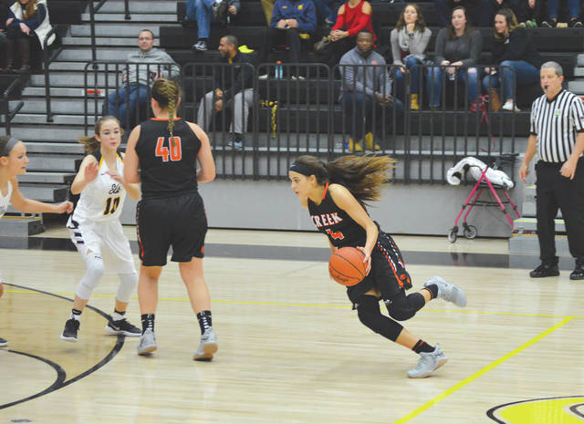File photos Alyssa Hall (4) takes advantage of a pick set up by Beavercreek teammate Michaela Rhoades (40) at a recent girls high school basketball game against Centerville.