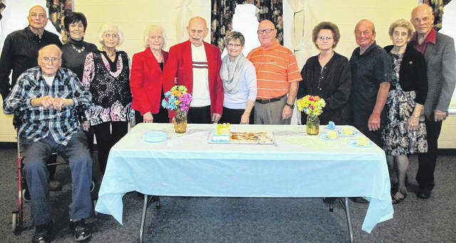 Submitted photos Xenia Nazarene recently honored marriages that have passed the 50th anniversary mark. Pictured are Bob Brown, Tom and Anita Goodbar, Janet Drake, Betty and Bill Drake, Sylvia &and Mack Bottorff, Jean and Earl Newton,and Jane and Paul Drake.