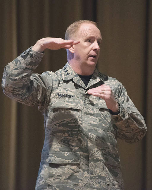Submitted photo Lt. Gen. Robert D. McMurry, Air Force Life Cycle Management Center commander, talks to his Airmen Jan. 19 during a commander's call in the Wright-Patterson Air Force Base Theater.