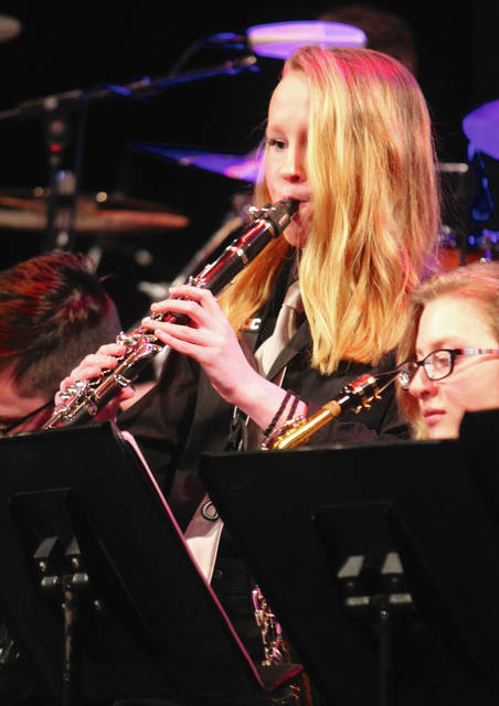 Anna Bolton | Greene County News Beavercreek Weekend of Jazz kicked off March 1 with Beavercreek Band Night at Beavercreek High School's Alumni Auditorium. Ankeney and Coy Middle Schools as well as BHS jazz ensembles performed on stage followed by constructive critiques and brief instruction by five-time Grammy-winning musician Victor Wooten, drummer Dennis Chambers and saxophonist Bob Franceschini of the Victor Wooten Trio. WOJ continues at the high school through Saturday, March 3.