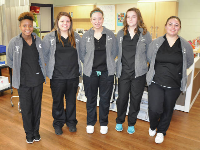 Submitted photos Greene County Career Center Health Science Academy juniors Kelli Baxter, Kayleena Hicks, Alyssa Lewis, Mary Hart and Elizabeth Hayden recently earned medals at the Health Occupations Students of America (HOSA) regional competition.