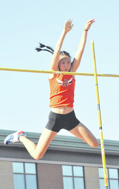 Josh Brown | Aim Media Eileen Yang, 0f Beavercreek High School, won the Division I Southwest regional pole vaulting title on May 25. She'll join 11 Greene County area track and field athletes at the state championships, June 1-2 in Columbus.