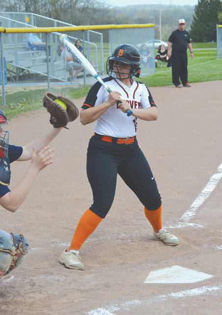 Beavercreek senior catcher Natasha Price (10) looks back to see the ball placement of a high and inside pitch, during Wednesday's run-ruled loss at Fairborn. Price led the Beavers in hitting with two singles and a run scored.