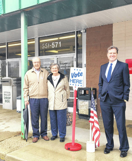 Submitted photo Congressman Mike Turner took his parents Vivian and Raymond Turner to the Board of Elections April 24 to vote early in the primary. Turner encourages residents to get out and vote.