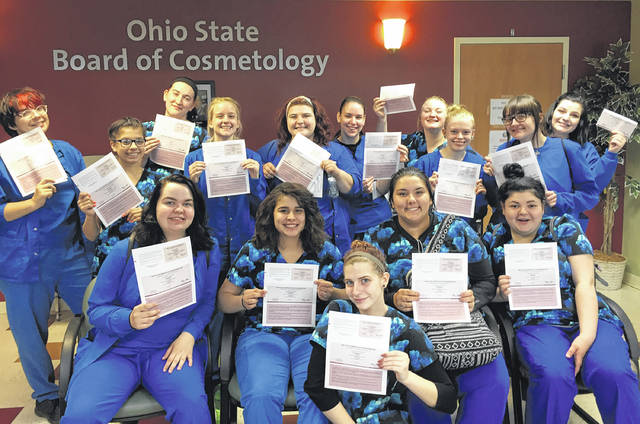 Submitted photo Fifteen Greene County Career Center cosmetology students recently passed their exams and are now State Board of Cosmetology-certified, ready to begin working.