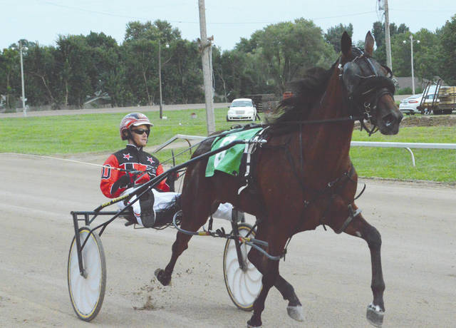 Ben Davis drives Vinecancruise wide down the front stretch, during Wednesday's opening day of harness racing at the Greene County Fair. Racing continues starting at 6:30 p.m. Thursday night on the Chip Noble Memorial Track.