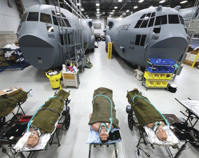 Submitted photo Patient simulators allow students to monitor vital signs and administer drugs for aeromedical evacuation training by active-duty, reserve and ANG Airmen at Wright Patterson Air Force Base.