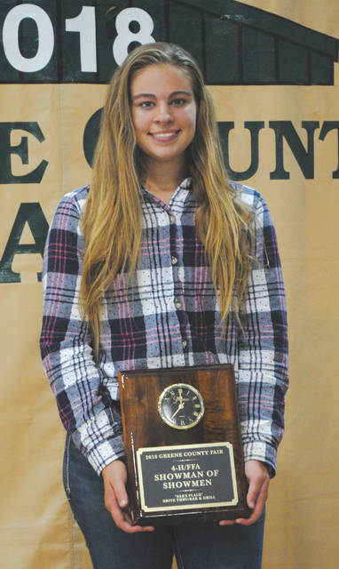Whitney Vickers   Greene County News Danielle Norman earned the most points in the Greene County Fair Showman of Showmen competition.