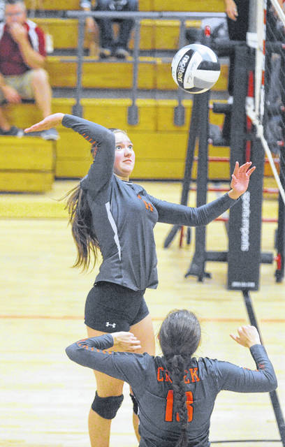 Beavercreek's Abby Hack goes up for a kill in a three-set win Sept. 10 over Troy.